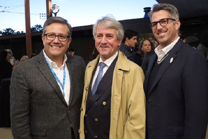 Fairplex CEO Miguel Santana with Klaus Schormann (UIPM) and Casey Wasserman (LA 2024)