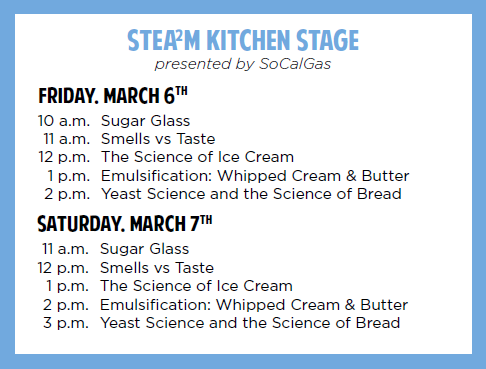 STEA2M Kitchen Stage Schedule for STEA2M Fair 2020