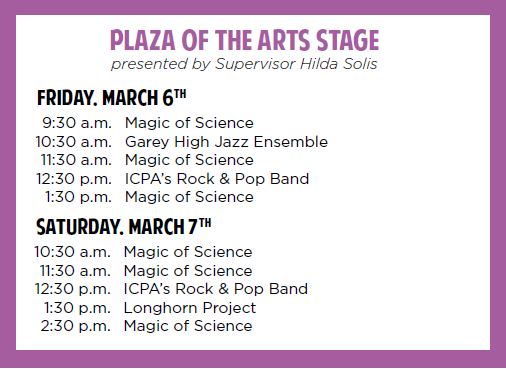 Plaza of the Arts Stage Schedule for STEA2M Fair 2020